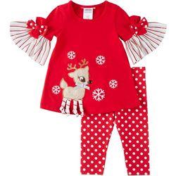 Bonnie Jean Toddler Girls Reindeer Leggings Set