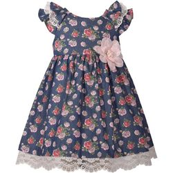 Bonnie Jean Toddler Girls Chambray Floral Dress