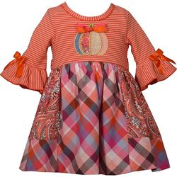 Bonnie Jean Toddler Girls Mixed Striped Pumpkin Dress
