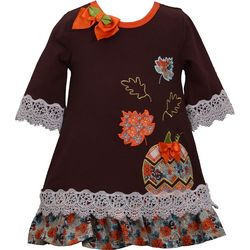 Bonnie Jean Toddler Girls Fall Pumpkin Lace Trim Dress