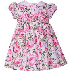 Bonnie Jean Toddler Girls Smocked Roses Dress