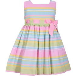 Bonnie Jean Toddler Girls Striped Bow Waist Dress