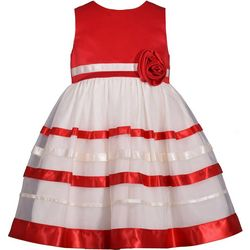 Bonnie Jean Toddler Girls Christmas Ribbon Dress