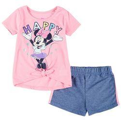 Disney Toddler Girls 2-pc. Happy Minnie Mouse Shorts Set