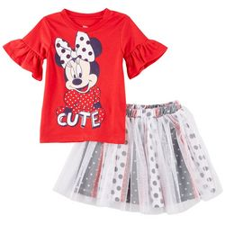 Disney Minnie Mouse Toddler Girls Cute Dots Skirt Set