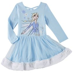 Disney Frozen Toddler Girls Elsa Fuzzy Tulle Dress