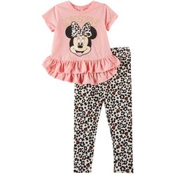 Disney Minnie Mouse Toddler Girls Leopard Print Leggings Set