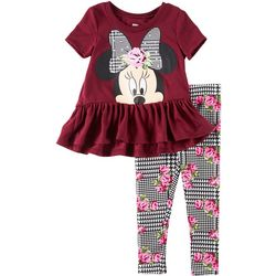 Disney Minnie Mouse Toddler Girls Floral Ruffle Leggings Set