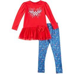 DC Comics Wonder Woman Toddler Girls Bow Leggings Set