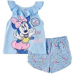 Disney Minnie Mouse Toddler Girls One Happy Mouse Shorts Set