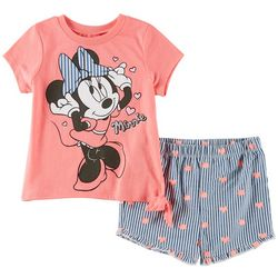 073ebc8f47 Disney Minnie Mouse Toddler Girls Striped Hearts Shorts Set