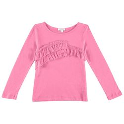 Flapdoodles Toddler Girls Solid Ruffle Long Sleeve T-Shirt