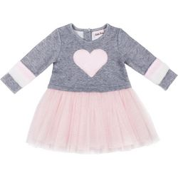 Little Lass Toddler Girls Furry Heart Tulle Dress