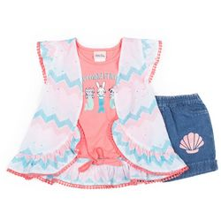 Little Lass Toddler Girls 3-pc. Mermaid Friends Short Set