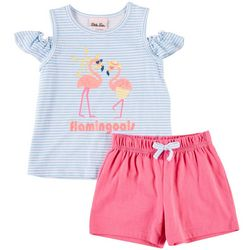 Little Lass Toddler Girls 2-pc. Flamingoals Stripe Short Set