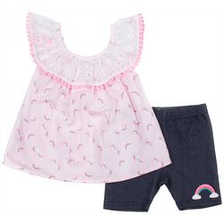 Little Lass Toddler Girls 2-pc. Unicorn Rainbow Short Set