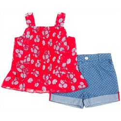Little Lass Toddler Girls 2-pc. Floral & Polka Dot Short Set