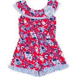 Little Lass Toddler Girls Floral Striped Americana Romper