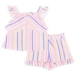 Little Lass Toddler Girls Striped Ruffle Short Set