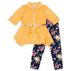 Little Lass Little Girls Button Down Sparkle Leggings Set