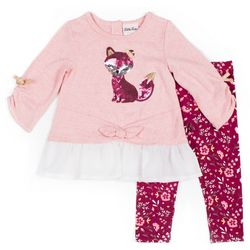 Little Lass Toddler Girls Sequin Fox Floral Leggings Set