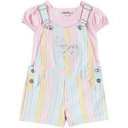 Little Lass Toddler Girls Sequin Unicorn Shortalls Set