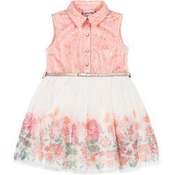 Little Lass Toddler Girls Floral Tulle Dress