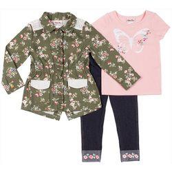 Little Lass Toddler Girls 3-pc. Floral Jacket & Leggings Set