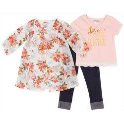 Little Lass Toddler Girls 3-pc. Floral Kimona & Leggings Set