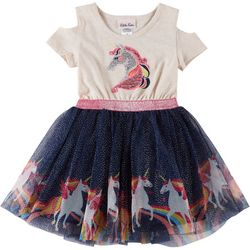 Little Lass Toddler Girls Sequin Unicorn Tulle Dress
