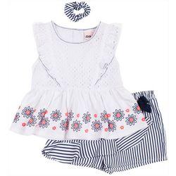Little Lass Toddler Girls 3-pc. Eyelet Stripe Short Set