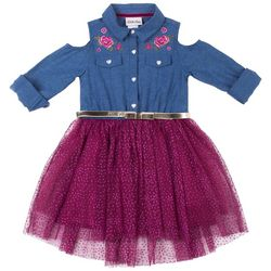 Little Lass Toddler Girls Floral Chambray Tulle Belted Dress