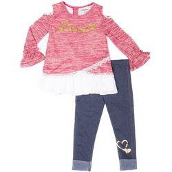 Little Lass Toddler Girls Love Embroidered Leggings Set
