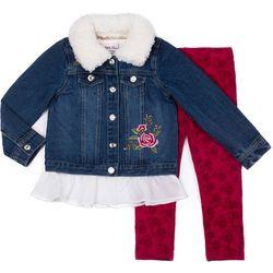 Little Lass Toddler Girls 3-pc. Rose Jacket Leggings Set