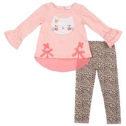 Little Lass Toddler Girls Cat Bow Leopard Leggings Set