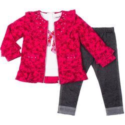 Little Lass Toddler Girls 3-pc. Floral Jacket Leggings Set