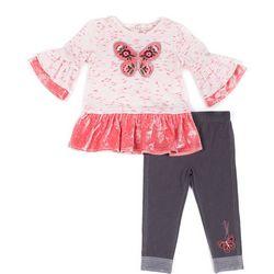 Little Lass Toddler Girls Velvet Butterfly Leggings Set