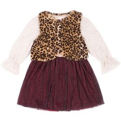 Little Lass Toddler Girls Leopard Print Vest Dress Set