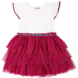 Little Lass Toddler Girls Floral Lace Tiered Tulle Dress