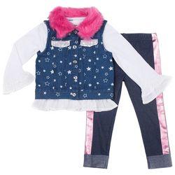 Little Lass Toddler Girls 3-pc. Stars Fur Denim Vest Set