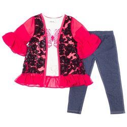 Little Lass Toddler Girls 3-pc. Floral Kimono Leggings Set