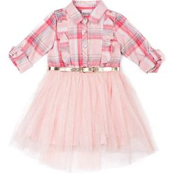 Little Lass Toddler Girls Plaid Ruffle Belted Tutu Dress