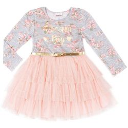 Little Lass Toddler Girls Dream Big Floral Tulle Dress