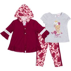 Little Lass Toddler Girls 3-pc. Floral Owl Leggings Set
