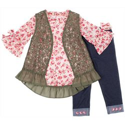 Little Lass Toddler Girls 3-pc. Floral Lace Vest Legging Set