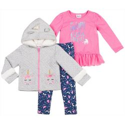 Little Lass Toddler Girls 3-pc. Unicorn Jacket Set