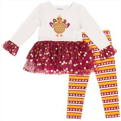 Little Lass Toddler Girls Turkey Tutu Leggings Set