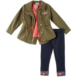 Little Lass Toddler Girls 3-pc. Cargo Jacket & Leggings Set