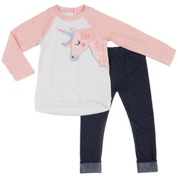 Little Lass Toddler Girls 2-pc. Quilted Unicorn Leggings Set