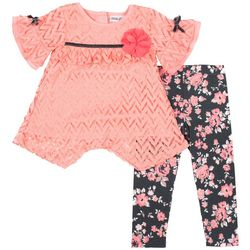 Little Lass Toddler Girls Bell Sleeve Floral Leggings Set